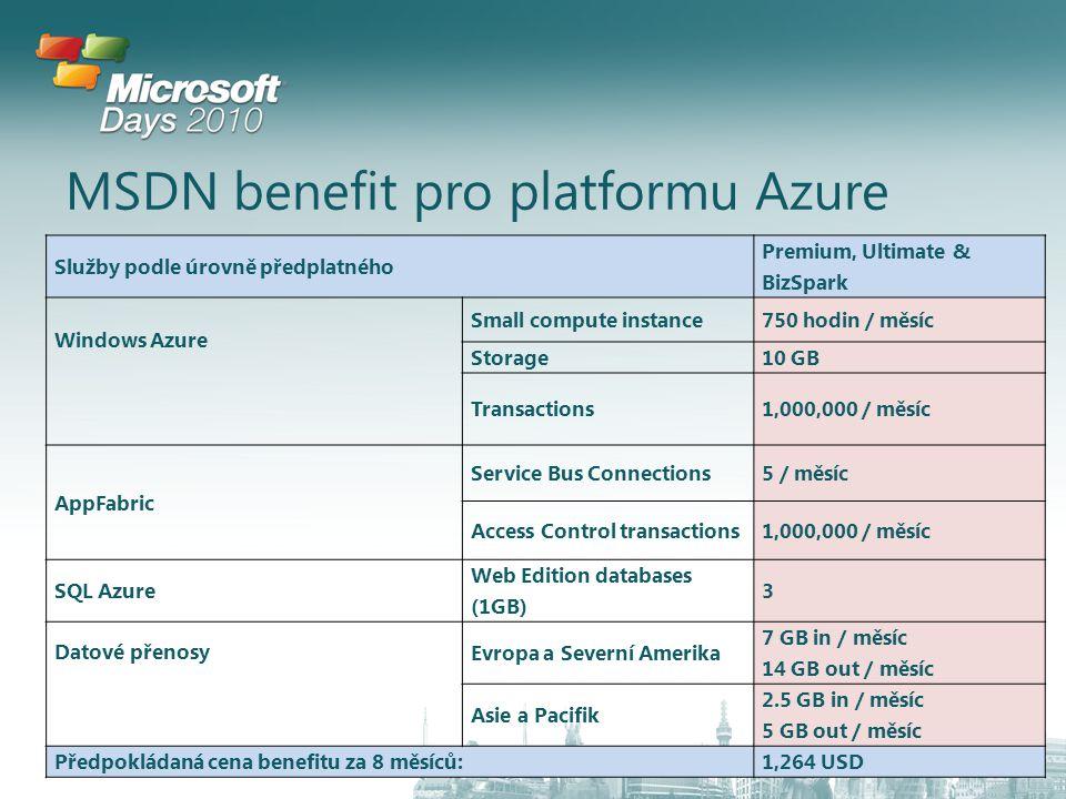 MSDN benefit pro platformu Azure Služby podle úrovně předplatného Premium, Ultimate & BizSpark Windows Azure Small compute instance750 hodin / měsíc Storage10 GB Transactions1,000,000 / měsíc AppFabric Service Bus Connections5 / měsíc Access Control transactions1,000,000 / měsíc SQL Azure Web Edition databases (1GB) 3 Datové přenosy Evropa a Severní Amerika 7 GB in / měsíc 14 GB out / měsíc Asie a Pacifik 2.5 GB in / měsíc 5 GB out / měsíc Předpokládaná cena benefitu za 8 měsíců:1,264 USD