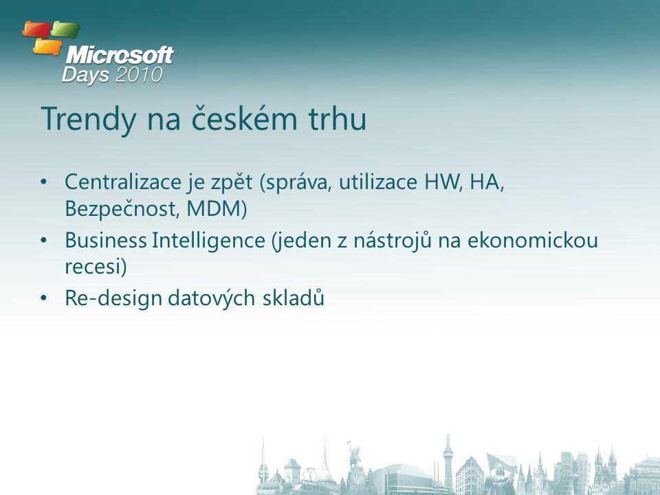 Trendy na českém trhu Centralizace je zpět (správa, utilizace HW, HA, Bezpečnost, MDM) Business Intelligence (jeden z nástrojů na ekonomickou recesi) Re-design datových skladů