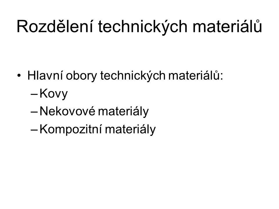 Kovy Rozdělujeme je na: –Železné kovy Ocel (konstrukční, nástrojová, slitinová, na odlitky) Litina (bílá, šedá, temperovaná, …) –Neželezné kovy Těžké kovy (olovo, měď, zinek, …) Lehké kovy (hliník, hořčík, titan, …)