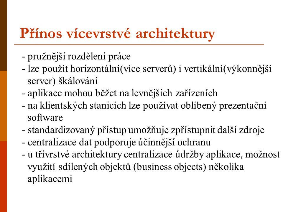 Přínos vícevrstvé architektury - pružnější rozdělení práce - lze použít horizontální(více serverů) i vertikální(výkonnější server) škálování - aplikac