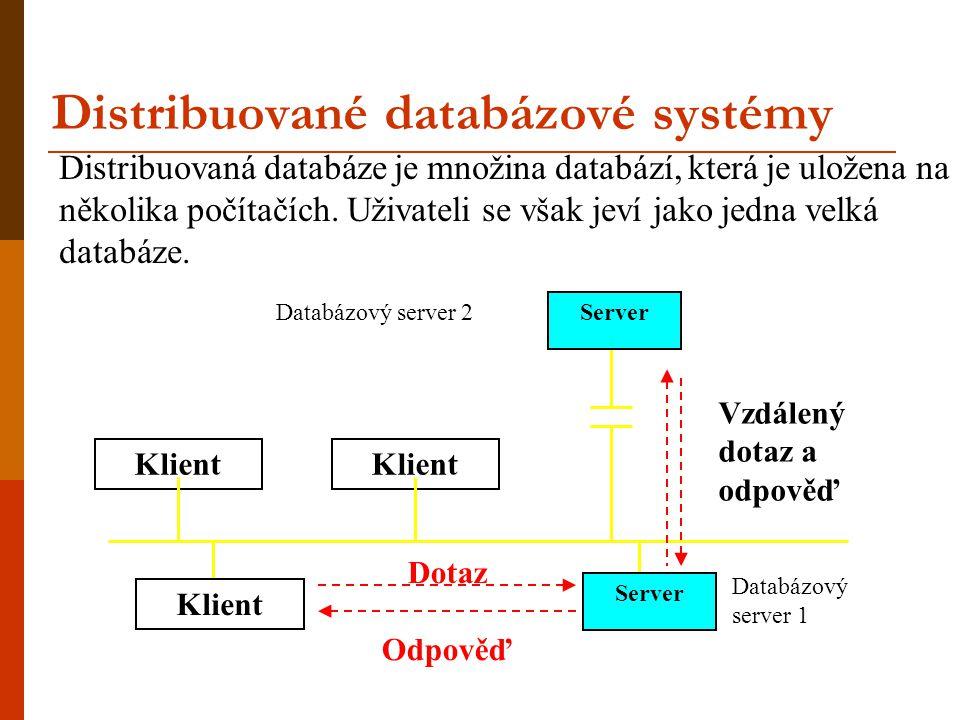 Distribuované databázové systémy Klient Dotaz Odpověď Klient Server Vzdálený dotaz a odpověď Databázový server 1 Databázový server 2 Server Distribuov