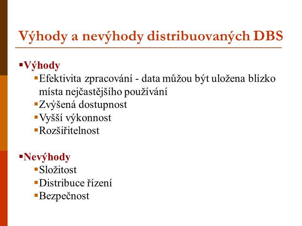 Výhody a nevýhody distribuovaných DBS  Výhody  Efektivita zpracování - data můžou být uložena blízko místa nejčastějšího používání  Zvýšená dostupn