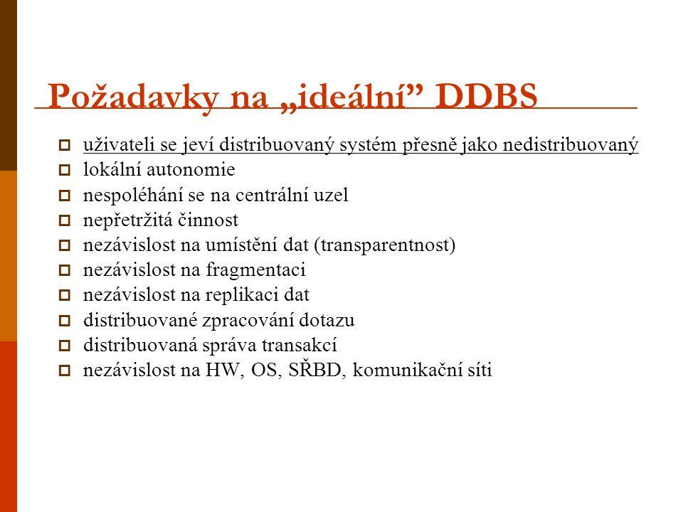 """Požadavky na """"ideální"""" DDBS  uživateli se jeví distribuovaný systém přesně jako nedistribuovaný  lokální autonomie  nespoléhání se na centrální uze"""
