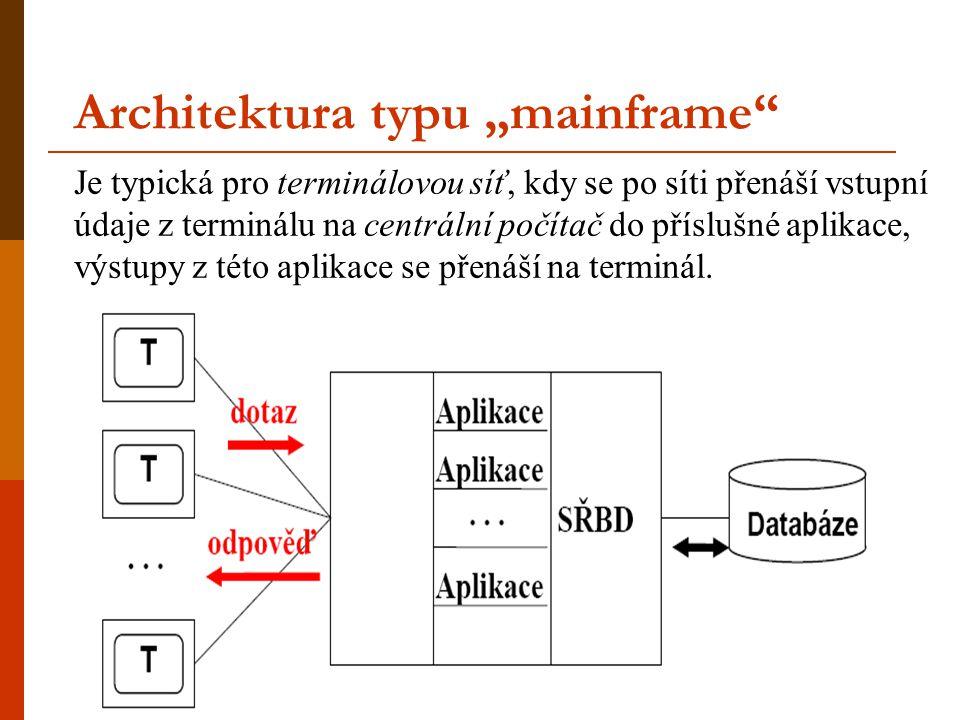 """Architektura typu """"mainframe"""" Je typická pro terminálovou síť, kdy se po síti přenáší vstupní údaje z terminálu na centrální počítač do příslušné apli"""