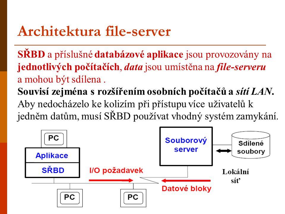 Architektura file-server SŘBD a příslušné databázové aplikace jsou provozovány na jednotlivých počítačích, data jsou umístěna na file-serveru a mohou