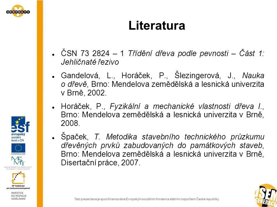 ČSN 73 2824 – 1 Třídění dřeva podle pevnosti – Část 1: Jehličnaté řezivo Gandelová, L., Horáček, P., Šlezingerová, J., Nauka o dřevě, Brno: Mendelova zemědělská a lesnická univerzita v Brně, 2002.