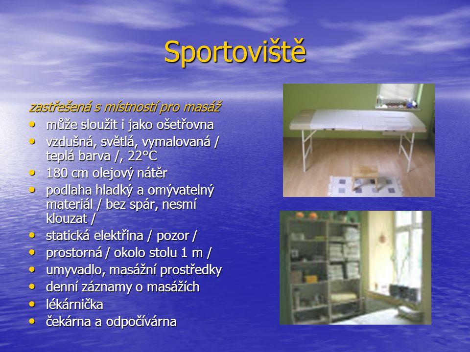 Sportoviště zastřešená s místností pro masáž může sloužit i jako ošetřovna může sloužit i jako ošetřovna vzdušná, světlá, vymalovaná / teplá barva /,