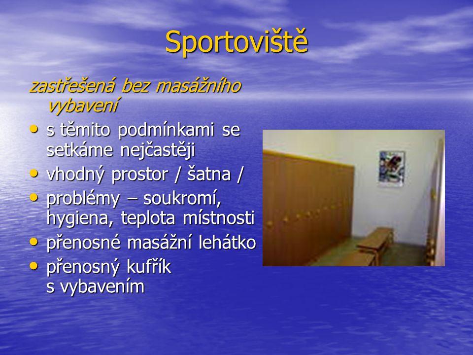 Sportoviště zastřešená bez masážního vybavení s těmito podmínkami se setkáme nejčastěji s těmito podmínkami se setkáme nejčastěji vhodný prostor / šat