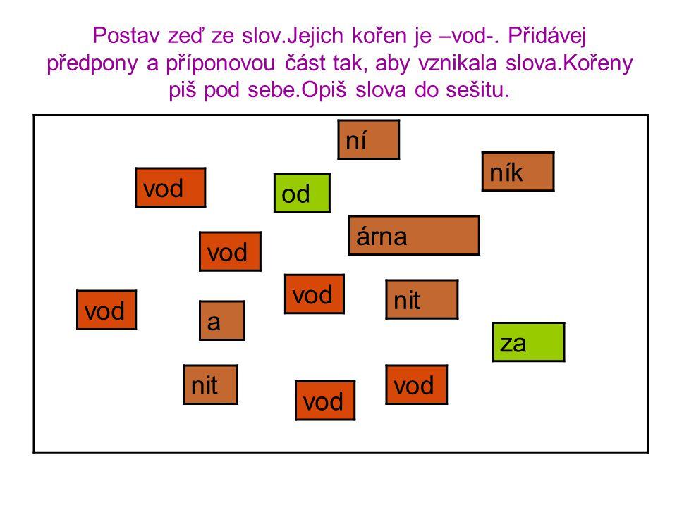 Postav zeď ze slov.Jejich kořen je –vod-. Přidávej předpony a příponovou část tak, aby vznikala slova.Kořeny piš pod sebe.Opiš slova do sešitu. vod ní