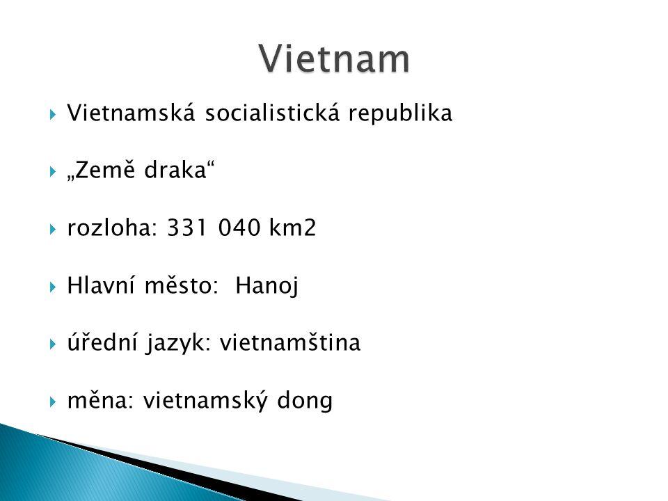 """ Vietnamská socialistická republika  """"Země draka""""  rozloha: 331 040 km2  Hlavní město: Hanoj  úřední jazyk: vietnamština  měna: vietnamský dong"""
