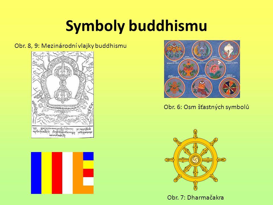 Symboly buddhismu Obr. 8, 9: Mezinárodní vlajky buddhismu Obr. 6: Osm šťastných symbolů Obr. 7: Dharmačakra