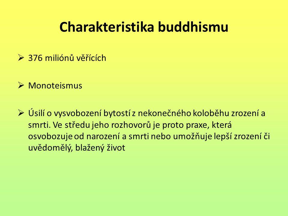 Charakteristika buddhismu  376 miliónů věřících  Monoteismus  Úsilí o vysvobození bytostí z nekonečného koloběhu zrození a smrti. Ve středu jeho ro