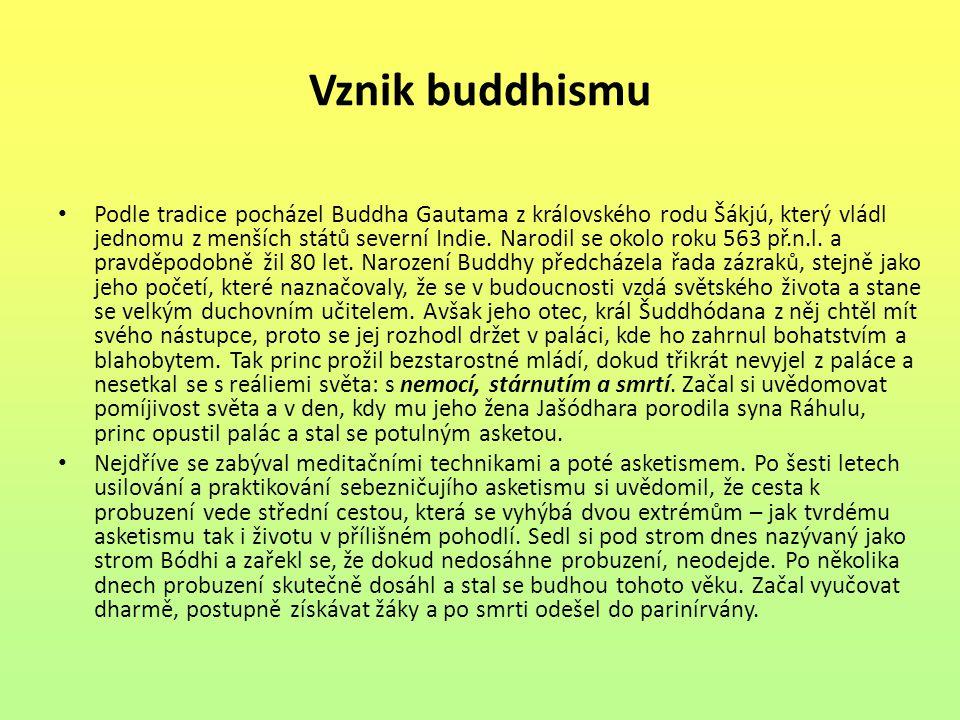 Vznik buddhismu Podle tradice pocházel Buddha Gautama z královského rodu Šákjú, který vládl jednomu z menších států severní Indie. Narodil se okolo ro