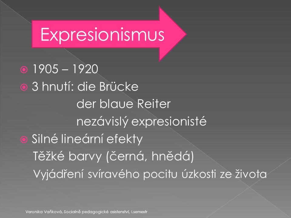 Výkřik Veronika Vaňková, Socialně pedagogické asistenství, I.semestr Edvard Munch