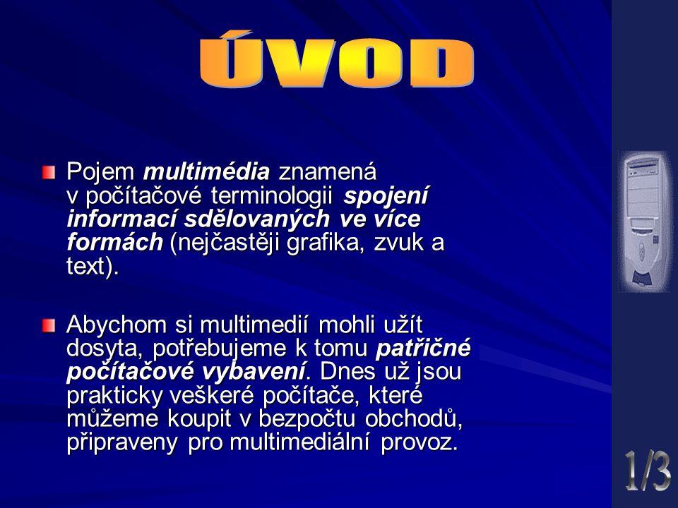 Pojem multimédia znamená v počítačové terminologii spojení informací sdělovaných ve více formách (nejčastěji grafika, zvuk a text).