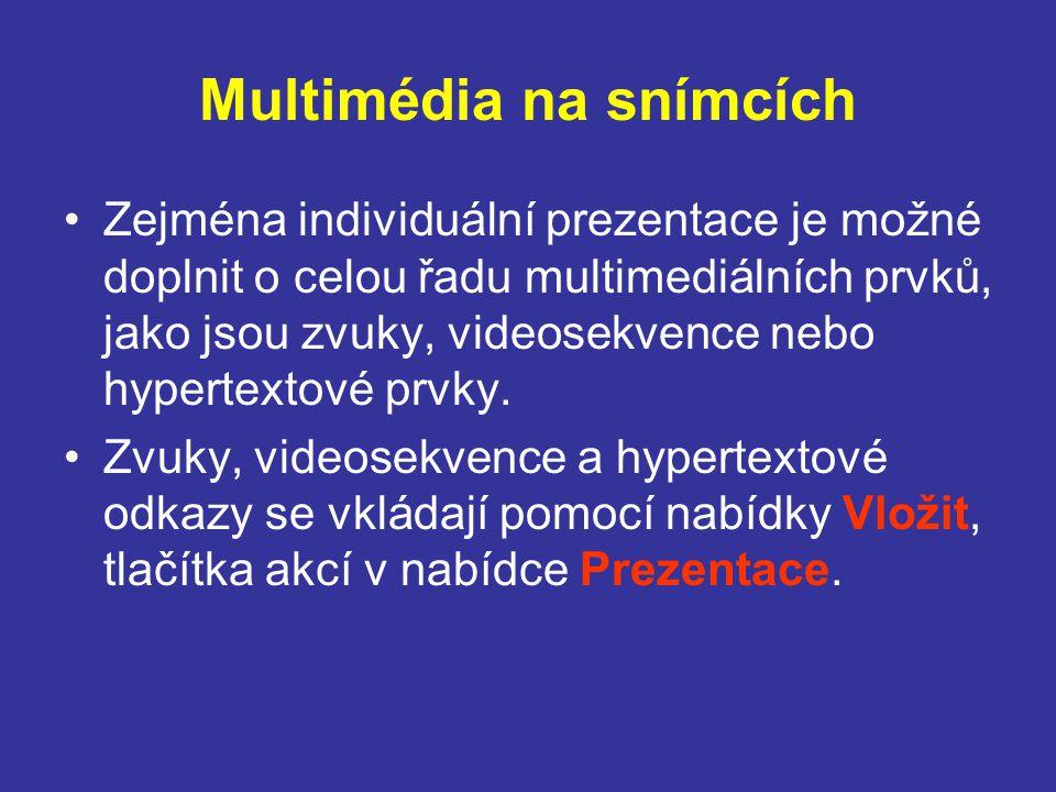 Multimédia na snímcích Zejména individuální prezentace je možné doplnit o celou řadu multimediálních prvků, jako jsou zvuky, videosekvence nebo hypertextové prvky.