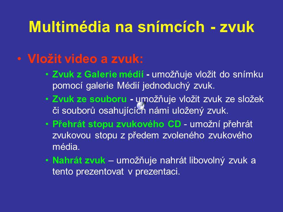 Multimédia na snímcích - zvuk Vložit video a zvuk: Zvuk z Galerie médií - umožňuje vložit do snímku pomocí galerie Médií jednoduchý zvuk. Zvuk ze soub