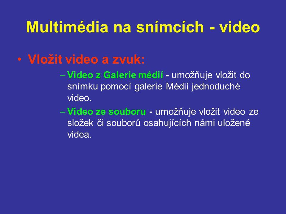 Multimédia na snímcích - video Vložit video a zvuk: –Video z Galerie médií - umožňuje vložit do snímku pomocí galerie Médií jednoduché video. –Video z
