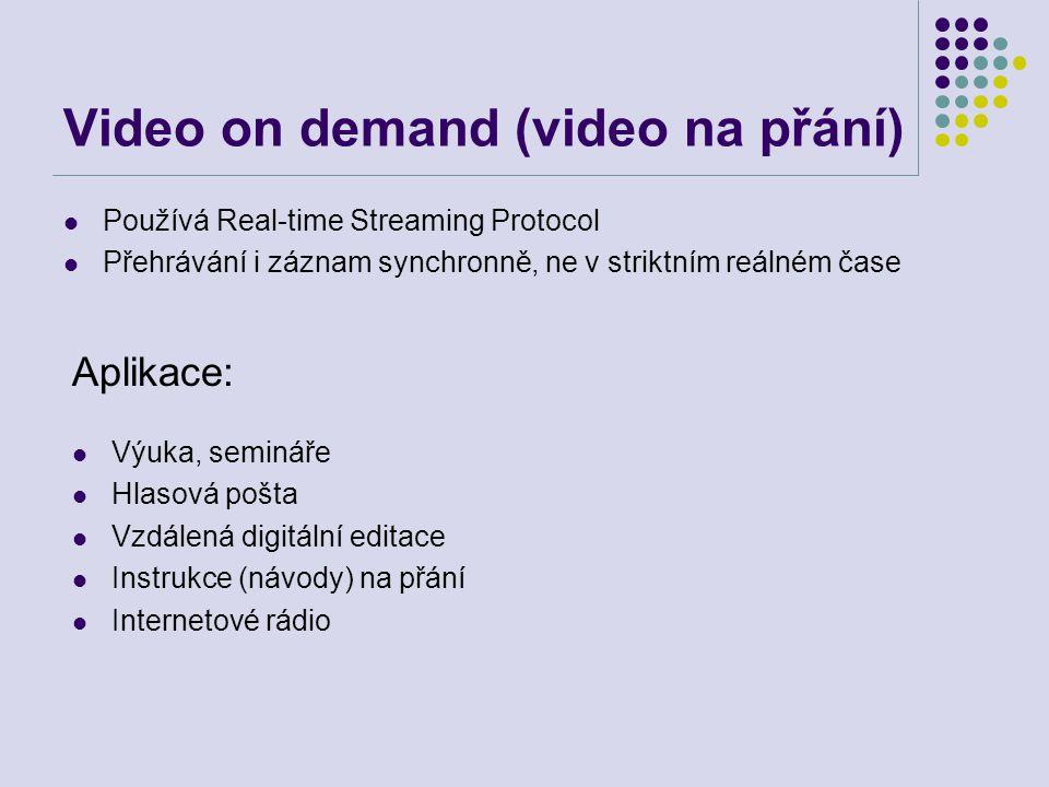 Video on demand (video na přání) Používá Real-time Streaming Protocol Přehrávání i záznam synchronně, ne v striktním reálném čase Výuka, semináře Hlas