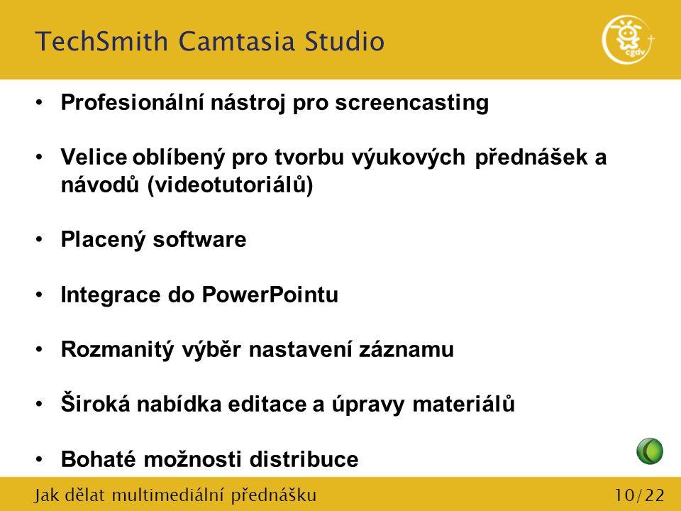 10/22 TechSmith Camtasia Studio Profesionální nástroj pro screencasting Velice oblíbený pro tvorbu výukových přednášek a návodů (videotutoriálů) Place