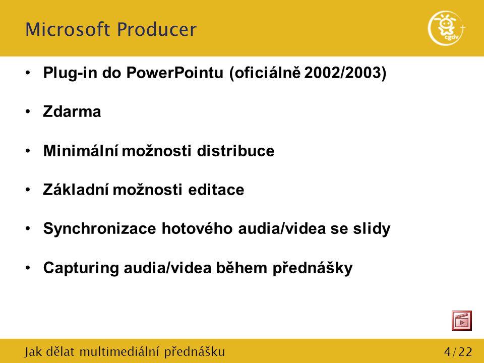 5/22 Microsoft Producer Systémové požadavky (oficiální) –OS: Windows 2000 Service Pack 3, Windows XP –Microsoft Office PowerPoint 2003, Microsoft PowerPoint 2002 –400 MHz CPU (Doporučeno: 600 MHz pro videozáznamy) –128 MB RAM (Doporučeno: 256 MB) –2 GB na HDD Pro přehrávání: –Min.
