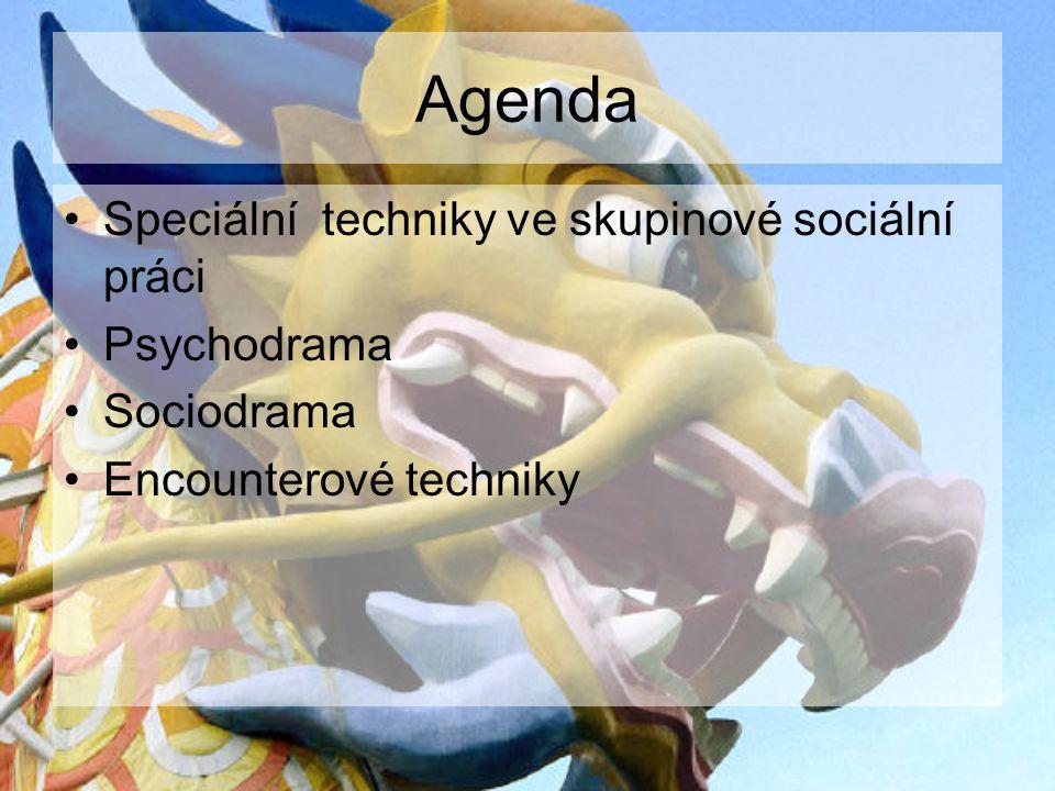 Agenda Speciální techniky ve skupinové sociální práci Psychodrama Sociodrama Encounterové techniky
