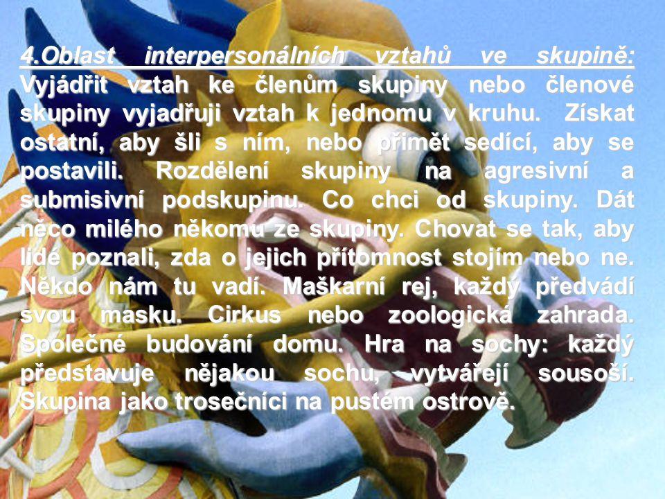 4.Oblast interpersonálních vztahů ve skupině: Vyjádřit vztah ke členům skupiny nebo členové skupiny vyjadřuji vztah k jednomu v kruhu. Získat ostatní,