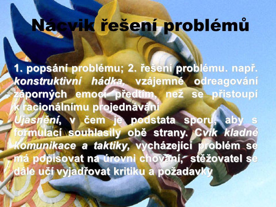 Nácvik řešení problémů 1. popsání problému; 2. řešení problému. např. konstruktivní hádka, vzájemné odreagování záporných emocí předtím, než se přisto