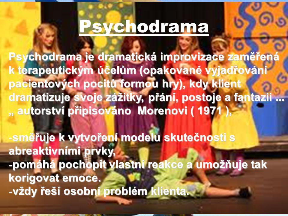 Psychodrama Cíl : - postupná změna postojů, - náhled, porozumění druhým, - náhled, porozumění druhým, - odreagování, - odreagování, - emocionální korekce, - emocionální korekce, - nácvik nového chování (bezpečné podmínky) - nácvik nového chování (bezpečné podmínky) Dnes i jako součást jiných sezení.