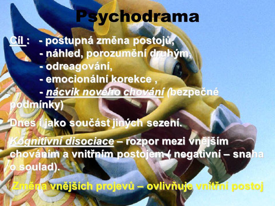 Psychodrama Cíl : - postupná změna postojů, - náhled, porozumění druhým, - náhled, porozumění druhým, - odreagování, - odreagování, - emocionální kore