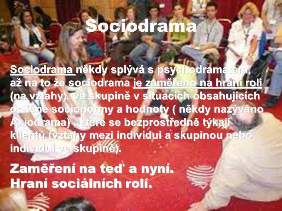Sociodrama Sociodrama někdy splývá s psychodramatem, až na to že sociodrama je zaměřeno na hraní roli (na vztahy). ve skupině v situacích obsahujících