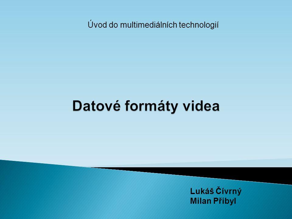  Ukládání obrazových pohyblivých záznamů a jejich přehrání  Kvalita videa  Formát uložení – určuje poměr kvality a objemu  Frame rate – počet snímků za vteřinu, plynulosti od 10 snímků za vteřinu a více  Rozlišení – digitální video v pixelech, analogové video v počtu řádků  Poměr stran – obrazový formát – poměr vodorovné a svislé strany  Datový tok - množství digitálních dat přenesené za časovou jednotku