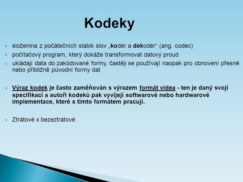 """Kodeky  složenina z počátečních slabik slov """"kodér a dekodér (ang."""