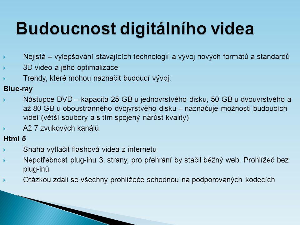 Budoucnost digitálního videa  Nejistá – vylepšování stávajících technologií a vývoj nových formátů a standardů  3D video a jeho optimalizace  Trendy, které mohou naznačit budoucí vývoj: Blue-ray  Nástupce DVD – kapacita 25 GB u jednovrstvého disku, 50 GB u dvouvrstvého a až 80 GB u oboustranného dvojvrstvého disku – naznačuje možnosti budoucích videí (větší soubory a s tím spojený nárůst kvality)  Až 7 zvukových kanálů Html 5  Snaha vytlačit flashová videa z internetu  Nepotřebnost plug-inu 3.