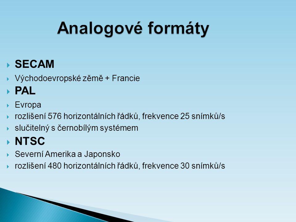 Analogové formáty  SECAM  Východoevropské zěmě + Francie  PAL  Evropa  rozlišení 576 horizontálních řádků, frekvence 25 snímků/s  slučitelný s černobílým systémem  NTSC  Severní Amerika a Japonsko  rozlišení 480 horizontálních řádků, frekvence 30 snímků/s