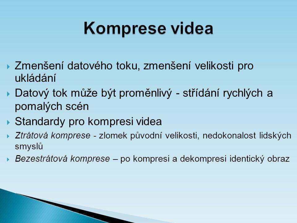 Komprese videa  Zmenšení datového toku, zmenšení velikosti pro ukládání  Datový tok může být proměnlivý - střídání rychlých a pomalých scén  Standardy pro kompresi videa  Ztrátová komprese - zlomek původní velikosti, nedokonalost lidských smyslů  Bezestrátová komprese – po kompresi a dekompresi identický obraz