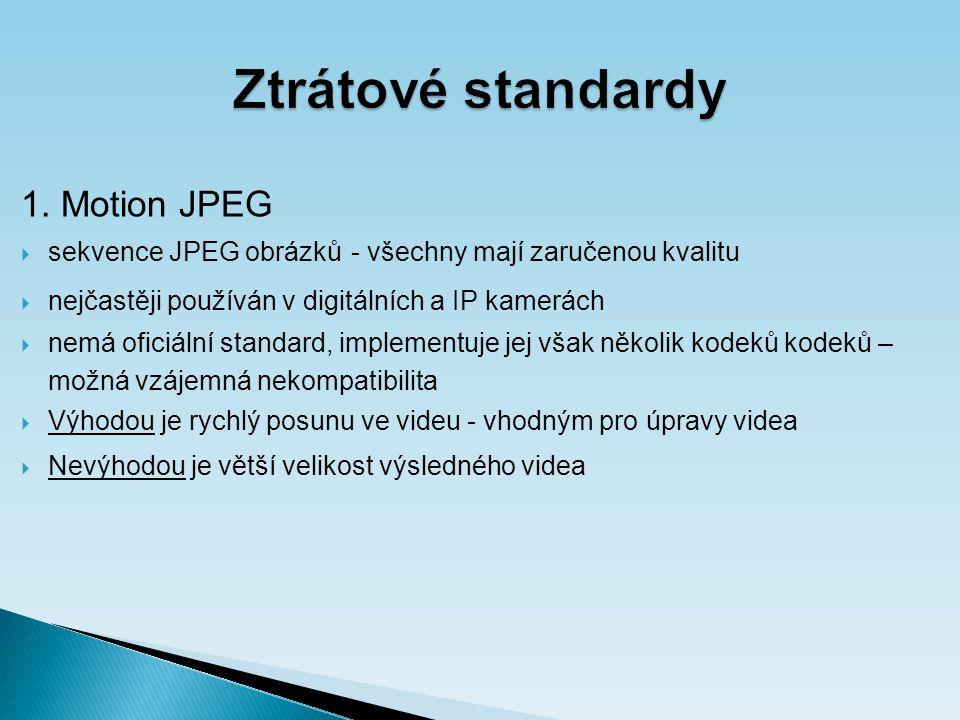 Ztrátové standardy 2.MPEG  Motion Picture Experts Group, 80.