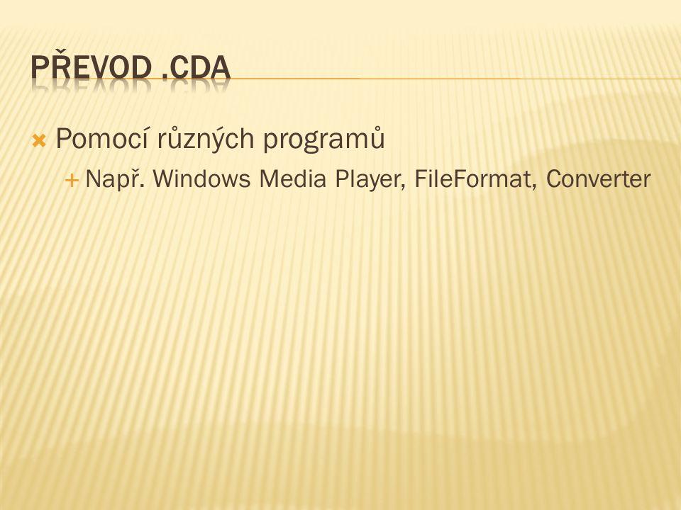  Pomocí různých programů  Např. Windows Media Player, FileFormat, Converter