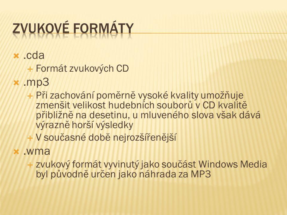 .cda  Formát zvukových CD .mp3  Při zachování poměrně vysoké kvality umožňuje zmenšit velikost hudebních souborů v CD kvalitě přibližně na desetinu, u mluveného slova však dává výrazně horší výsledky  V současné době nejrozšířenější .wma  zvukový formát vyvinutý jako součást Windows Media byl původně určen jako náhrada za MP3