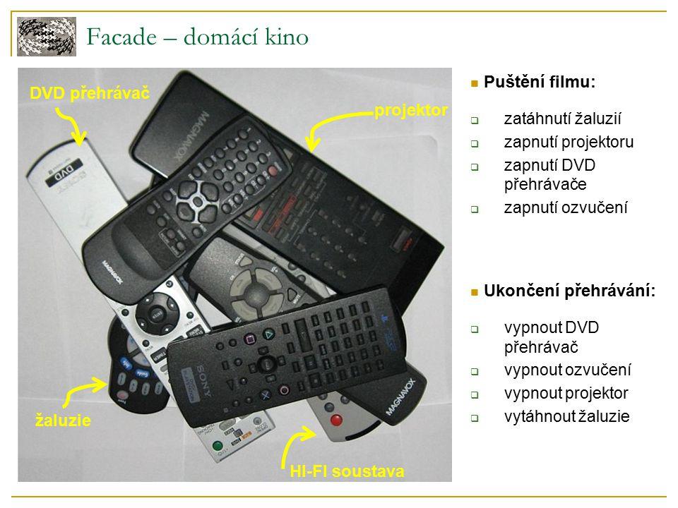 Facade – domácí kino projektor DVD přehrávač žaluzie HI-FI soustava Puštění filmu:  zatáhnutí žaluzií  zapnutí projektoru  zapnutí DVD přehrávače 