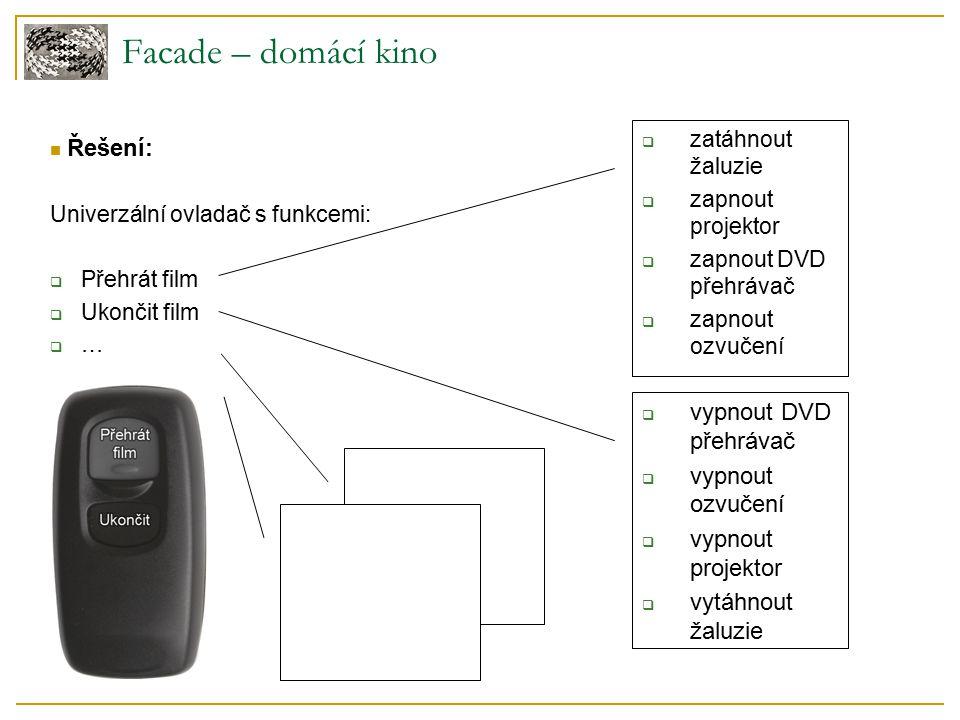 Facade – domácí kino Řešení: Univerzální ovladač s funkcemi:  Přehrát film  Ukončit film  …  zatáhnout žaluzie  zapnout projektor  zapnout DVD přehrávač  zapnout ozvučení  vypnout DVD přehrávač  vypnout ozvučení  vypnout projektor  vytáhnout žaluzie