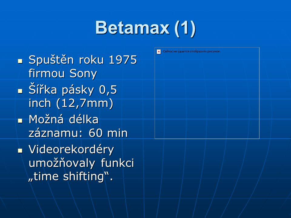 Betamax (1) Spuštěn roku 1975 firmou Sony Spuštěn roku 1975 firmou Sony Šířka pásky 0,5 inch (12,7mm) Šířka pásky 0,5 inch (12,7mm) Možná délka záznam