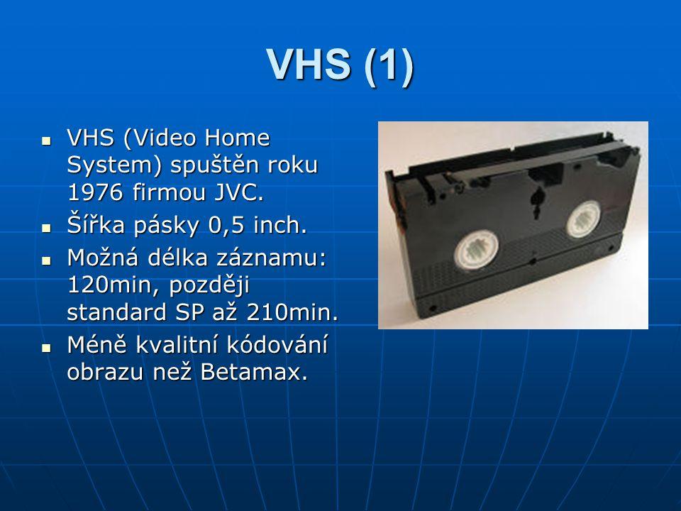 VHS (1) VHS (Video Home System) spuštěn roku 1976 firmou JVC. VHS (Video Home System) spuštěn roku 1976 firmou JVC. Šířka pásky 0,5 inch. Šířka pásky