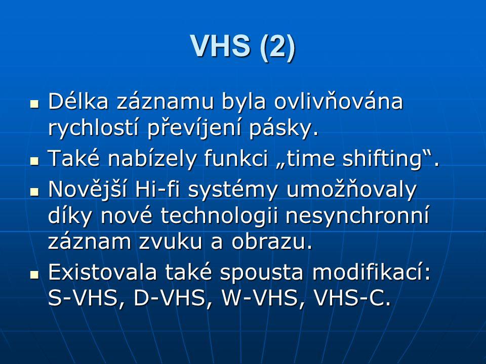 """VHS (2) Délka záznamu byla ovlivňována rychlostí převíjení pásky. Délka záznamu byla ovlivňována rychlostí převíjení pásky. Také nabízely funkci """"time"""