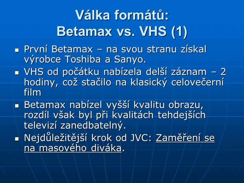 Válka formátů: Betamax vs. VHS (1) První Betamax – na svou stranu získal výrobce Toshiba a Sanyo. První Betamax – na svou stranu získal výrobce Toshib