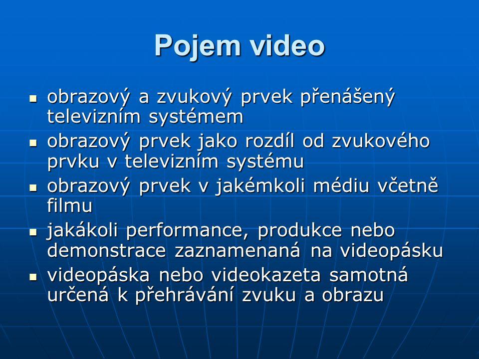 Pojem video obrazový a zvukový prvek přenášený televizním systémem obrazový a zvukový prvek přenášený televizním systémem obrazový prvek jako rozdíl o