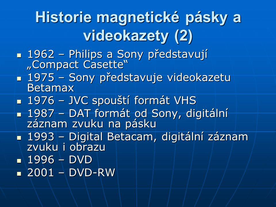 """Historie magnetické pásky a videokazety (2) 1962 – Philips a Sony představují """"Compact Casette"""" 1962 – Philips a Sony představují """"Compact Casette"""" 19"""