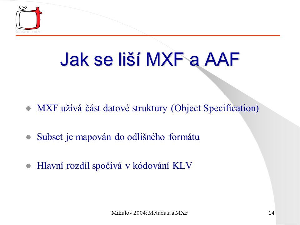 Mikulov 2004: Metadata a MXF14 Jak se liší MXF a AAF l MXF užívá část datové struktury (Object Specification) l Subset je mapován do odlišného formátu l Hlavní rozdíl spočívá v kódování KLV