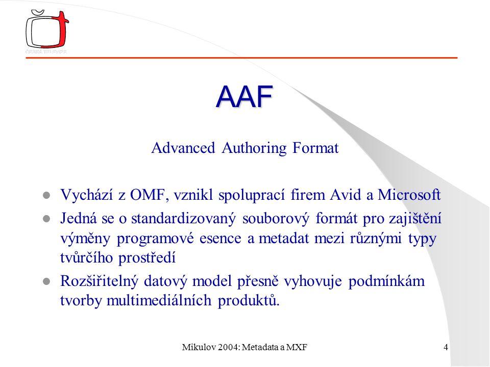 """Mikulov 2004: Metadata a MXF5 MXF Material Exchange Format Hledání jenotného formátu mělo následující zadání: l Zjednodušit AAF, ale zachovat kompatibilitu l Umožnit náhodný, paralelní přístup ve sdílené paměti l Vhodnost pro přehrávání během transferu l Vhodnost pro """"živou výrobu l Schopnost navazování přerušených přenosů l Možnost transferu během záznamu"""