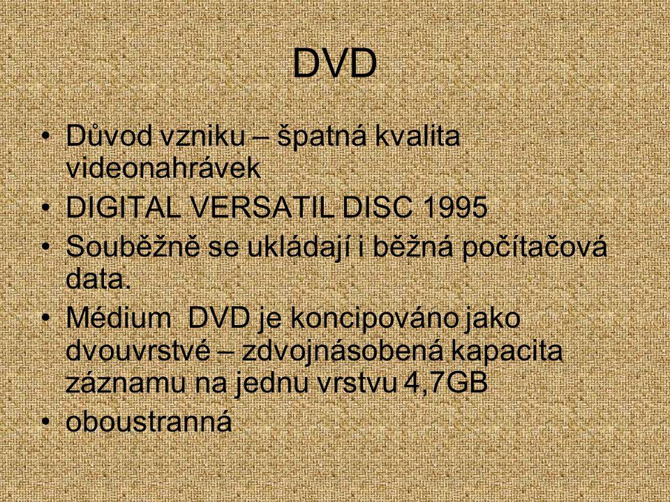 DVD Důvod vzniku – špatná kvalita videonahrávek DIGITAL VERSATIL DISC 1995 Souběžně se ukládají i běžná počítačová data. Médium DVD je koncipováno jak